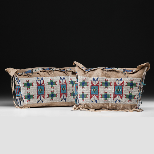 Sioux Beaded Hide Possible Bags, Matched Pair, Exhibited at the Booth Western Art Museum