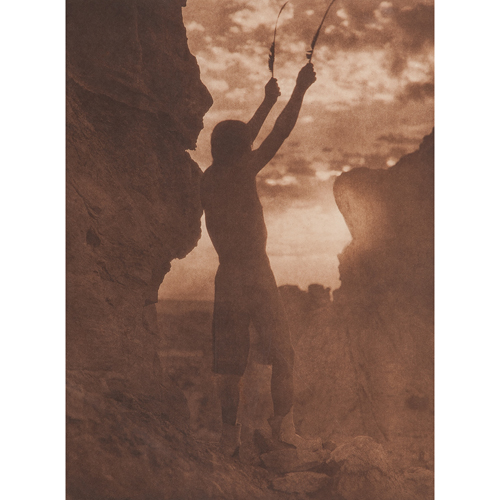 Edward Curtis (American, 1868-1952) Photogravure, Offering to the Sun - San Ildefonso