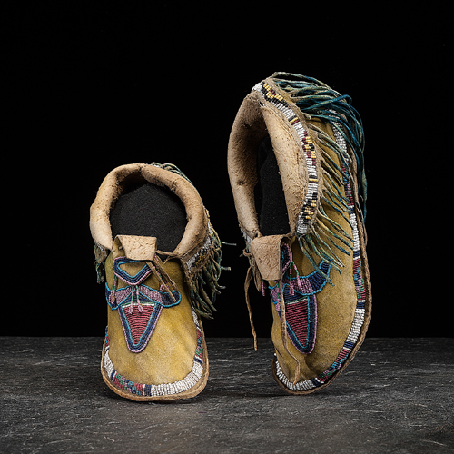 Kiowa Beaded Hide Moccasins, Exhibited at the Booth Western Art Museum, Cartersville, Georgia