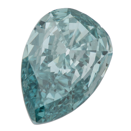 G.I.A. Certified 1.28 Carat Pear Shaped Fancy Deep Blue Green Treated Diamond