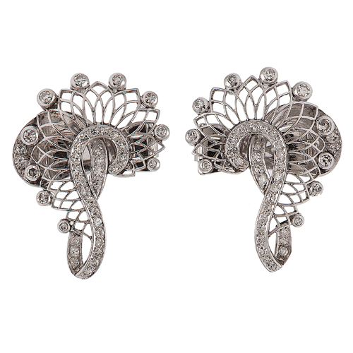 Art Deco Earrings/Dress Clips in Platinum with Diamonds