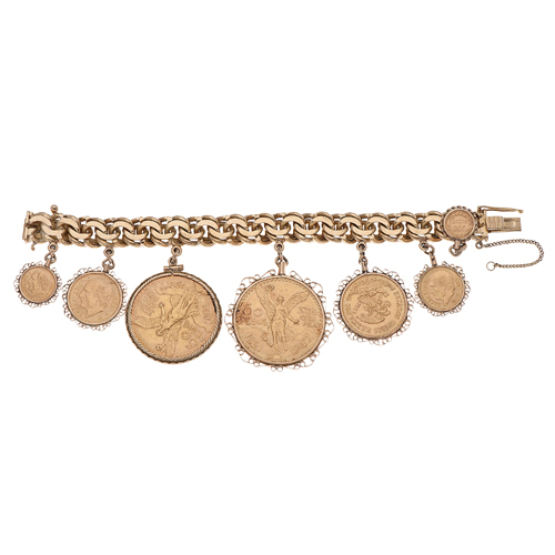 Charm Bracelet in 18 Karat Yellow Gold with Mexican Pesos