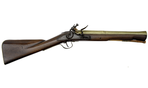 Early British Brass Barrel Flintlock Blunderbuss by Blanckley