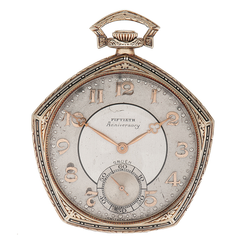 Gruen Fiftieth Anniversary Pocket Watch in 14 Karat Yellow Gold