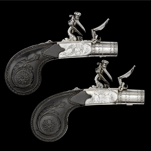 Pair of French Flintlock Pocket Pistols by Nicholas Boutet
