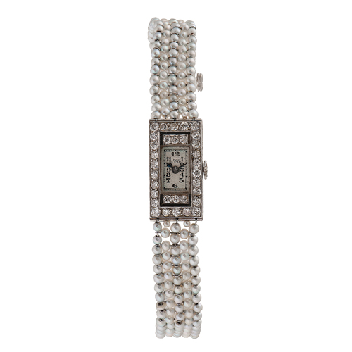 Patek Philippe Platinum, Diamond and Pearl Bracelet Watch Ca. 1927
