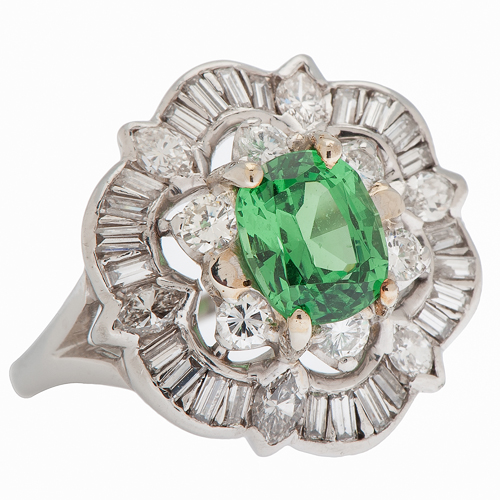 Tsavorite Garnet and Diamond Ring in Platinum