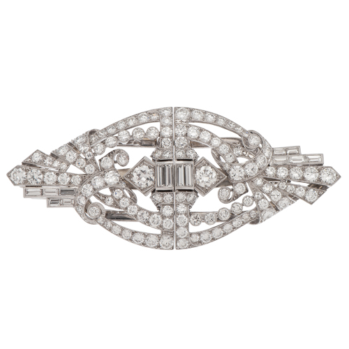 Vintage Diamond Dress Clips/Brooch in Platinum with 18 Karat White Gold