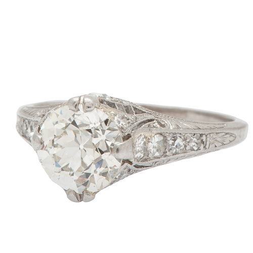 Vintage Die Struck Diamond Filigree Ring in Platinum