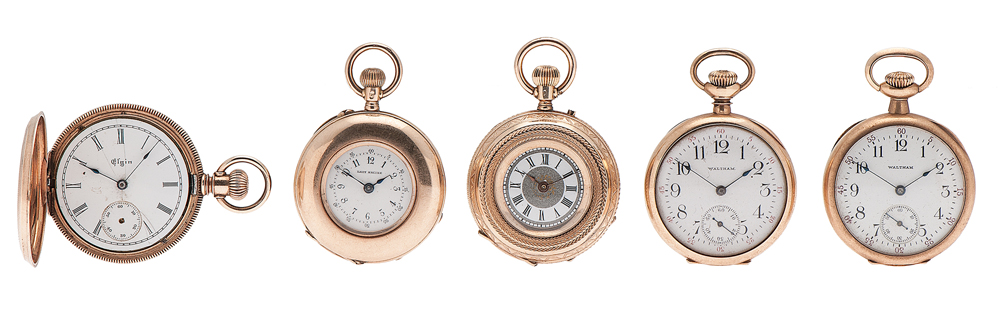 Waltham, Elgin and Lady Racine Pocket Watches in 14 Karat Yellow Gold