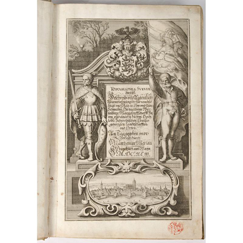 Illustrated - 17th Century Germany - 1643 Matthew Merian Double Page Engraved Views of Bavarian Towns