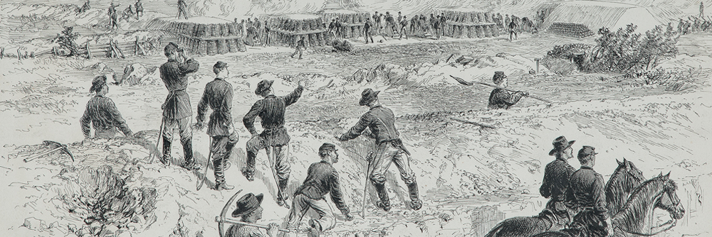 Explosion of the Petersburg Mine, Virginia, July 1864, Pen and Ink Sketch by Alfred R. Waud