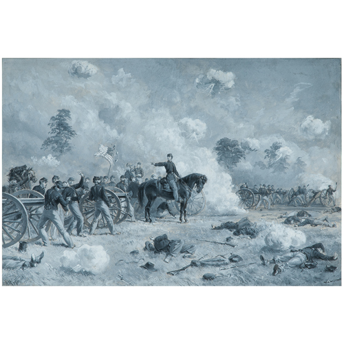 Lieutenant Bayard Wilkeson Holding his Battery to its Work in an Exposed Position, Gettysburg, July 1, 1863, Watercolor by Alfred R. Waud