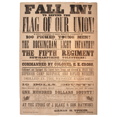 Civil War Recruitment Broadside for the Rockingham Light Infantry, 5th New Hampshire Volunteers