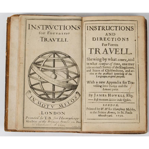 Travel and Exploration - First Continental Handbook of Travel - Howell, Forren Travell, 1650