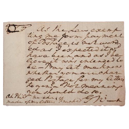 George Washington ANS Regarding his Free Frank Postage Privileges