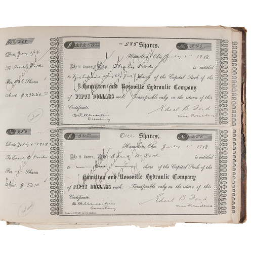 Henry Ford, Edsel Ford, and William B. Mayo Signed Stock Certificates in Hamilton and Rossville Hydraulic Company Stock Certificate Book