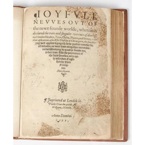 Botanical Medicine - Early Printing - 16th Century - Rare First English Edition of Monardes, Joyfull Newes, 1577, Woodcut Illustrations