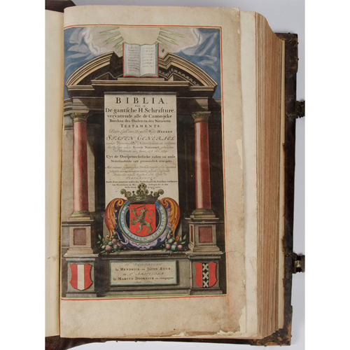 Bible - Illustrated - Cartography - Massive Dutch Bible, 1682, Contemporary Colored Maps, Working Brass Clasps