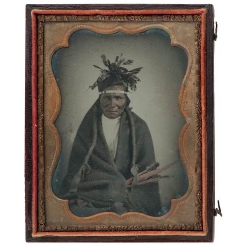 Exceptionally Rare Quarter Plate Ambrotype of a Dakota Indian