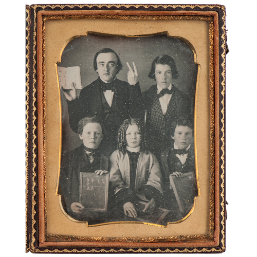 Quarter Plate Daguerreotype of a Mathematics Teacher with Young Students