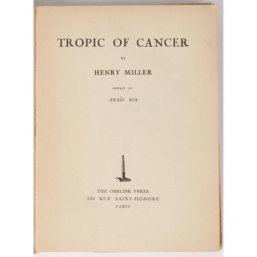 Literature - Modern Firsts - Rare Henry Miller, Tropic of Cancer, Obelisk Press Paris - 1934