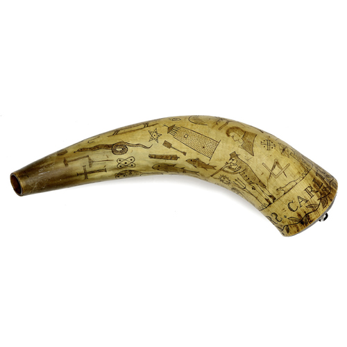 Engraved Powder Horn Dated 1818