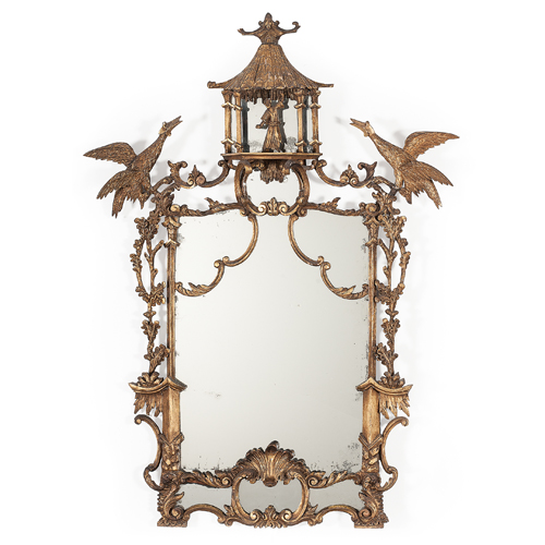 Fine Chinese-Chippendale-style Gilt Mirror with Pagoda Top