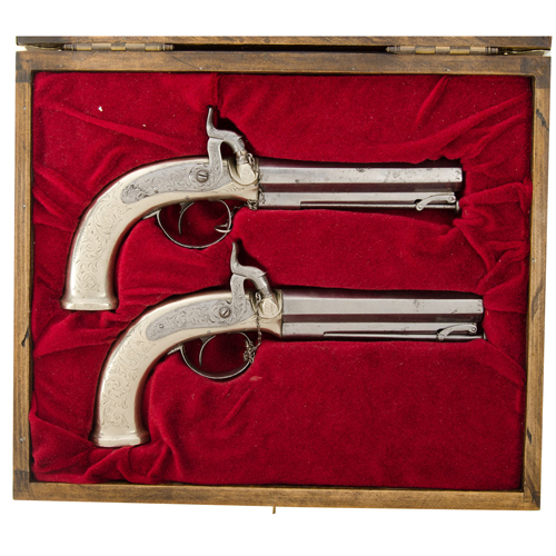Pair Of English German Silver Mounted Percussion Single Shot Pistols For Raja King Of Jaipur