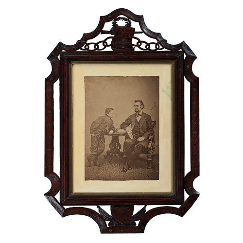 Abraham Lincoln and his Son Tad, Last Formal Photograph of the President, in Exceptional Folk Art Carved Emancipation Proclamation Frame