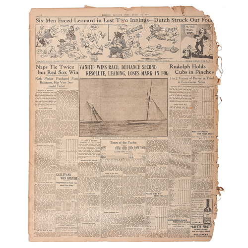 Boston Sunday Post, July 12, 1914, with Illustrated Account of Babe Ruth