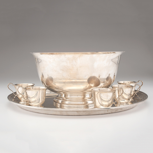 International Sterling Punch Bowl, Cups and Tray, Lord Saybrook