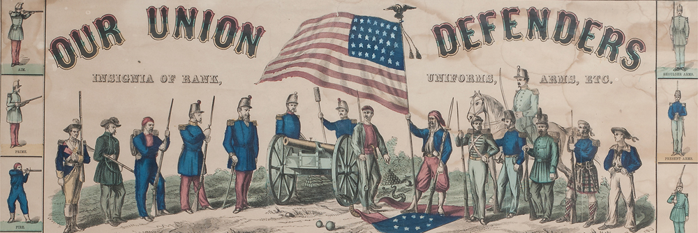 Our Union Defenders, Finely Illustrated Civil War Broadside Engraving