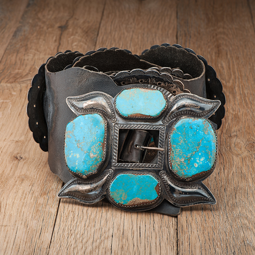 Roger Skeet Sr. (Navajo, 1900-1959) Silver and Turquoise Concha Belt, From the C.G. Wallace Collection