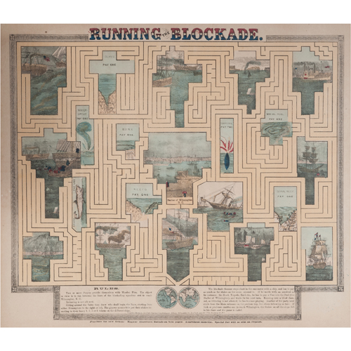 Running the Blockade, Civil War Hand-Colored Maze Game by Charles Magnus