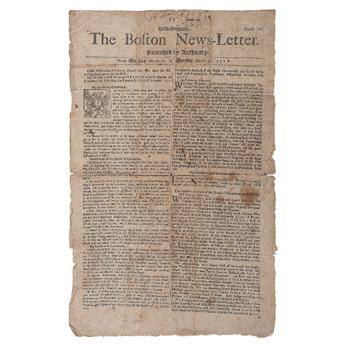 Early Issue of the Extremely Rare, First Continuously Published American Newspaper, The Boston News-Letter, with Pirate