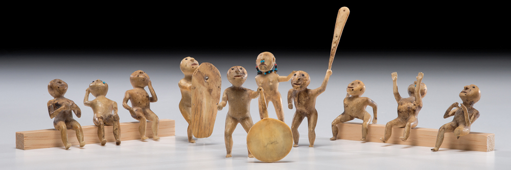 Yupik Carved Walrus Ivory Dancers