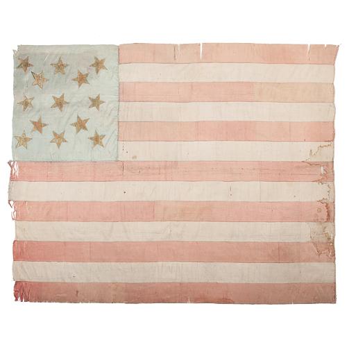 Early Silk 13-Star American Flag