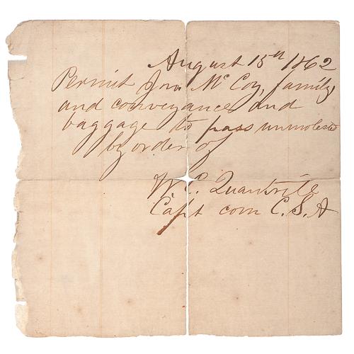 Confederate Pass Signed by Captain William C. Quantrill