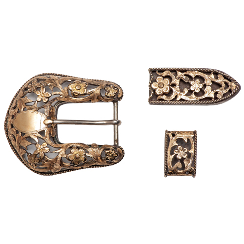 Edward H. Bohlin Gold and Gold over Silver Buckle Set