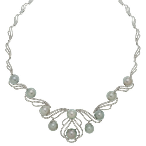 Orianne Cultured South Sea Pearl and Diamond Necklace in 14 Karat White Gold