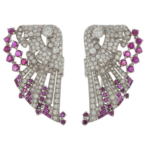 Art Deco Diamond and Ruby Dress Clips in Platinum