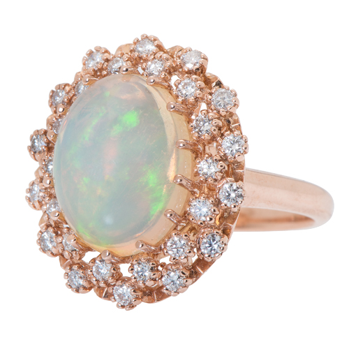 Crystal Opal and Diamond Ring in 14 Karat Rose Gold