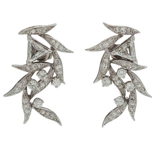 Diamond Earrings in 14 Karat White Gold