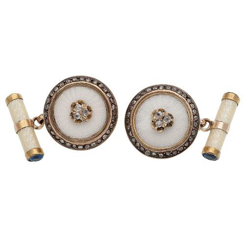 Fabergé Diamond and Enamel Cufflinks in 14 Karat Yellow Gold Ca. 1870