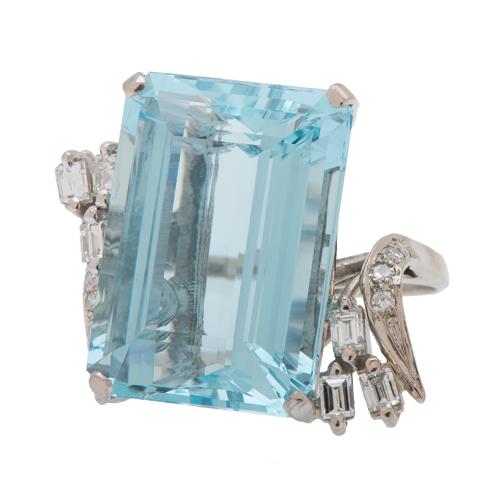 H. Stern Aquamarine and Diamond Ring in 18 Karat White Gold