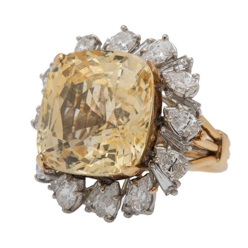 Large Yellow Sapphire and Diamond Ring in 18 Karat Gold