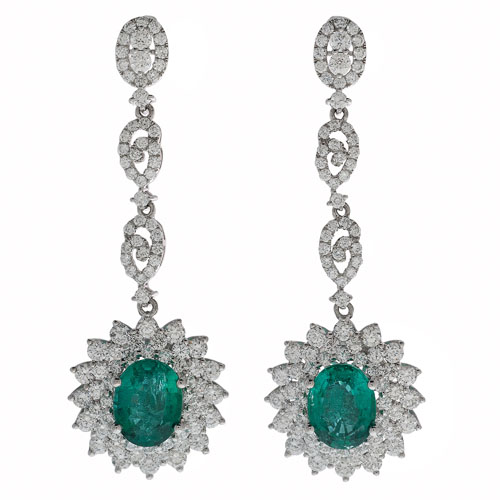 Orianne Emerald and Diamond Earrings in Platinum
