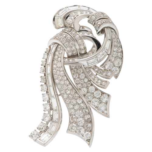 Platinum Brooch with Baguette and Round Diamonds