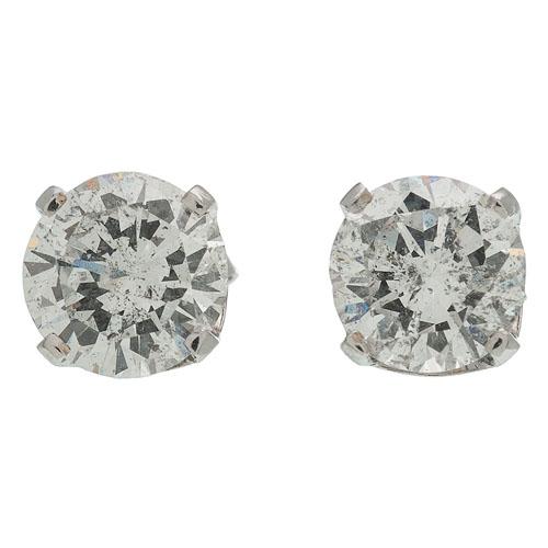 Two Carat Total Weight Diamond Stud Earrings in 14 Karat White Gold